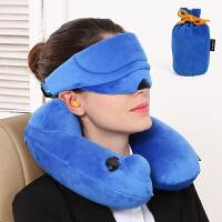 旅行便携飞机u型枕护颈枕脖子保健颈椎枕午睡自动充气枕头套装 三宝 蓝色