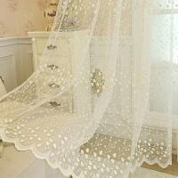 韩式窗纱清新田园蕾丝窗帘成品刺绣花白纱帘定制欧式窗纱卧室飘窗