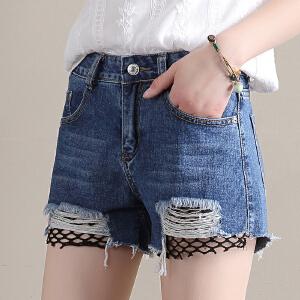 Freefeel2018夏季新款磨破洞丝网状牛仔短裤女高腰透气时尚显瘦流苏热裤