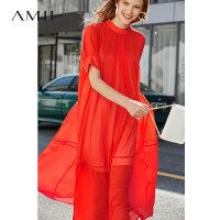 【折后价:210元】Amii极简法式优雅少女连衣裙2019夏季新款宽松立领珍珠扣雪纺长裙