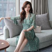 雪纺碎花连衣裙女夏中长款2018新款韩版气质时尚透气中袖裙子