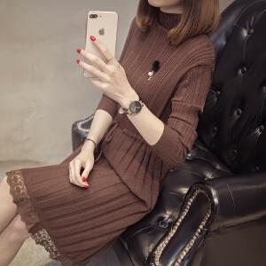 女士春秋时尚毛衣2018新款韩版蕾丝中长款打底衫长袖百搭潮针织衫