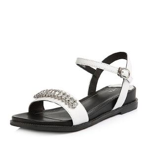 Tata/他她2018夏专柜同款白色牛皮水晶一字带方跟女凉鞋FER08BL8
