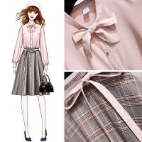 安妮纯衬衫套装裙子2020女装新款春季洋气俏皮两件套连衣裙格子半裙法国小众很仙的套装裙冬