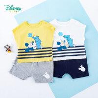 迪士尼Disney童装 男童套装米老鼠印花上衣纯棉五分短裤两件套2020年夏季新款儿童衣服