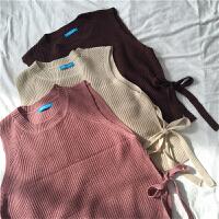 韩国学院风秋装新款宽松显瘦百搭学生开叉绑带无袖背心马甲毛衣女