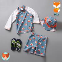 男童中长袖分体游泳衣防晒冲浪服泳裤儿童泳衣可爱狐狸造型