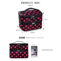 韩国双层圆点化妆包女旅行防水收纳包美容包
