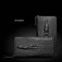 鳄鱼纹男士长款钱包 男手包时尚经典商务手拿包 青年钱夹拉链大潮