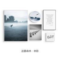 迷雾森林 现代简约创意组合客厅装饰画黑白风景字母静物挂画壁画 组合尺寸请查看选项图片(迷雾森林)组合价格请
