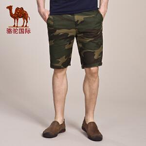 骆驼男装夏季时尚休闲短裤 男士纯棉中腰无弹直筒五分