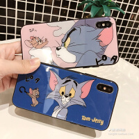 卡通猫和老鼠iphone8plus手机壳苹果X玻璃壳6s/7情侣XR女款XS MAX 6/6s 4.7-蓝底无奈猫