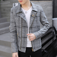 男士风衣外套2018春款修身青年休闲小西装男潮流韩版千格上衣