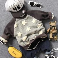 儿童双层厚款卫衣冬款男童羊羔绒立体星星插肩袖圆领套头上衣