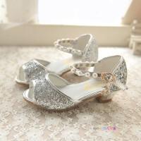 韩版珍珠公主鱼嘴凉鞋儿童水晶鞋中大童牛筋底女童高跟鞋