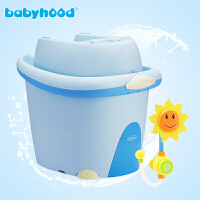 W 婴儿浴盆新生儿超大号加厚儿童洗澡桶宝宝沐浴桶可坐躺 气蓝套装+花洒 (带套装浴盆)