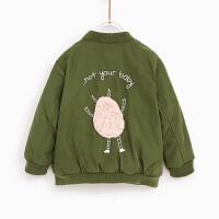 童装男女童秋冬棒球服军绿色夹克棉袄薄棉衣厚外套