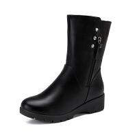 秋冬季妈妈靴子平底中跟中筒靴加绒保暖棉靴马丁靴子女靴棉鞋