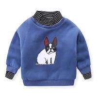 男童卫衣韩版儿童小狗加绒潮服宝宝1-3岁冬装婴幼儿上衣
