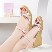 夏季新款女鞋坡跟凉鞋女高跟平底鞋子学生百搭粗跟厚底仙女性感潮