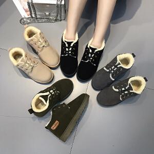 女式 秋冬新款冬季交叉绑带面包鞋女平底中帮保暖棉鞋女冬加绒