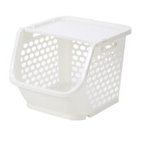 可叠加塑料置物架菜篮子多层厨房水果蔬菜收纳筐儿童玩具收纳整理 白色