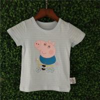 小猪佩奇t恤纯棉儿童抖音款社会人乔治男童女童兄妹装竹节棉短袖