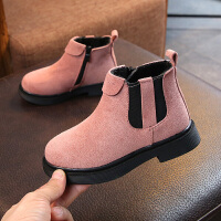 童鞋女童靴子秋冬季儿童马丁靴女加绒棉靴公主短靴雪地靴 粉色 加绒