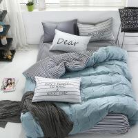 床上四件套纯棉简约现代北欧1.8m床单全棉被套学生宿舍三件套单人 潮牌时代 床笠款2.0m床,床笠200*200