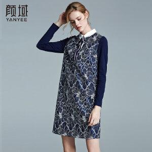 颜域品牌女装2017冬装新款衬衫领复合蕾丝裙蝴蝶结拼接印花连衣裙