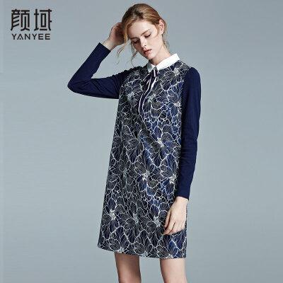颜域品牌女装2017冬装新款衬衫领复合蕾丝裙蝴蝶结拼接印花连衣裙知性优雅