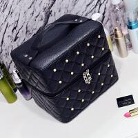 化妆包大容量多层便携韩国简约少女心护肤品收纳盒大号化妆箱手提