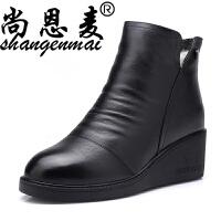 春季真皮女短靴加厚保暖羊毛棉靴坡跟防滑妈妈棉鞋加绒保暖女春鞋 黑色