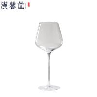汉馨堂 勃艮第杯 高脚透明色勃艮第专用欧式玻璃大容量红酒大肚杯红酒杯2支装