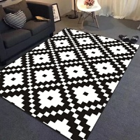 北�W�缀�D案地毯客�d�W式��s�F代沙�l茶�着P室床��M�地毯黑白 黑色 白色��X