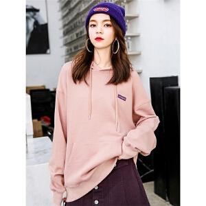 七格格卫衣女连帽春秋装2018新款韩版宽松中长款长袖学生运动上衣
