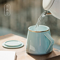 �^�V泡茶杯 �k公室茶杯大容量�R克杯陶瓷���w喝茶杯�Y盒�b