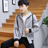 男士夹克2018春季新款男青少年帅气衣服初中高中学生韩版带帽外套 灰色 9802时尚夹克