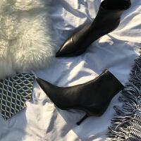 靴子女春秋2018新款细跟高跟鞋瘦瘦靴短靴 百搭尖头裸靴弹力女靴