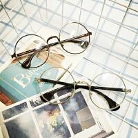韩国复古学院风原宿圆形金属平光眼镜男女潮可配近视眼镜框架学生