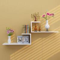 墙上置物架壁挂墙壁隔板客厅电视背景墙装饰搁板卧室壁柜格子 雪青白色组合一套 偏粉紫色