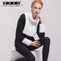 拼色毛衣女高领2017新款秋冬撞色几何图形套头针织衫长袖女装