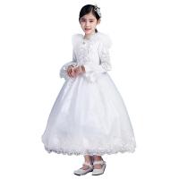 新款女童公主裙冬�b花童�Y服�L袖加厚�和�婚�生日晚�Y服小孩蓬蓬裙 白色