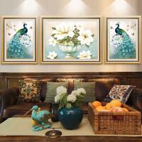 客厅装饰画沙发背景墙挂画美式孔雀壁画现代欧式墙画大气墙面油画 85*65【中间】/50*65【左右】 整套价格