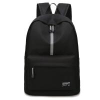 双肩包男休闲时尚潮流背包女双肩电脑包书包男大学生学院风 黑色