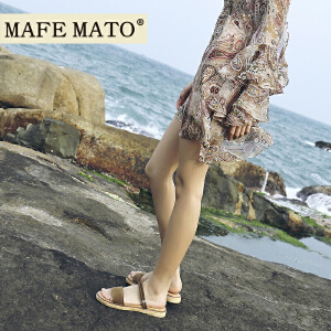 玛菲玛拖鞋凉鞋两用女夏2018新款时尚外穿一字百搭学生平底两穿沙滩鞋女M19810882T13