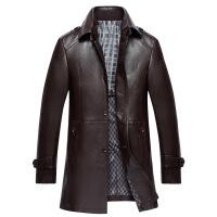 №【2019新款】冬天胖人穿的2018新款男士皮夹克中长款皮风衣中年男装加肥加大码皮衣外套 X