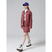 【1件3折价:252.5元】初语小香风套装女秋季新款两件套时尚翻领外套印花灯芯绒短裙