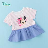 【3件3折到手价:51.3】迪士尼Disney童装 女童T恤米妮印花纯棉短袖2020夏季新品凉裙装T恤