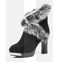 2018新款冬季马丁靴女士中筒靴兔毛真皮女鞋加绒高跟粗跟大码棉靴SN7022